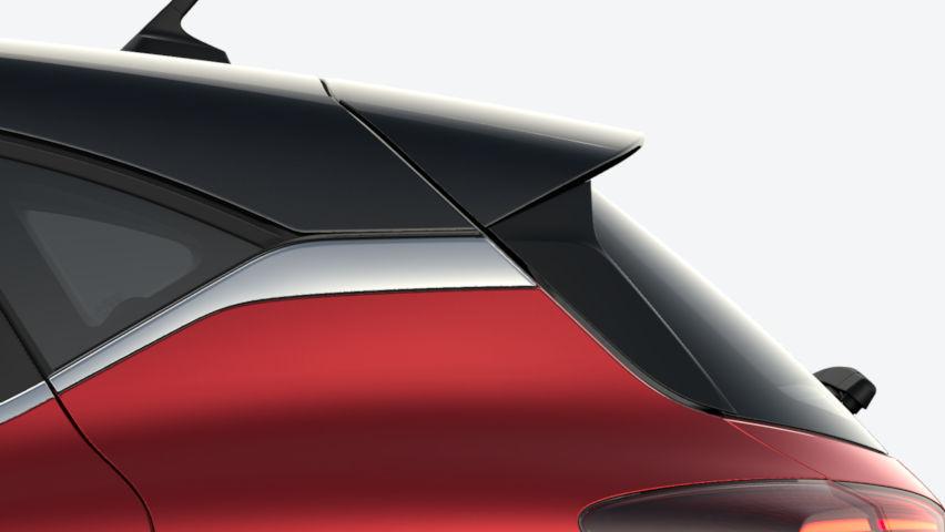 Rouge Flamme / toit Noir Etoilé